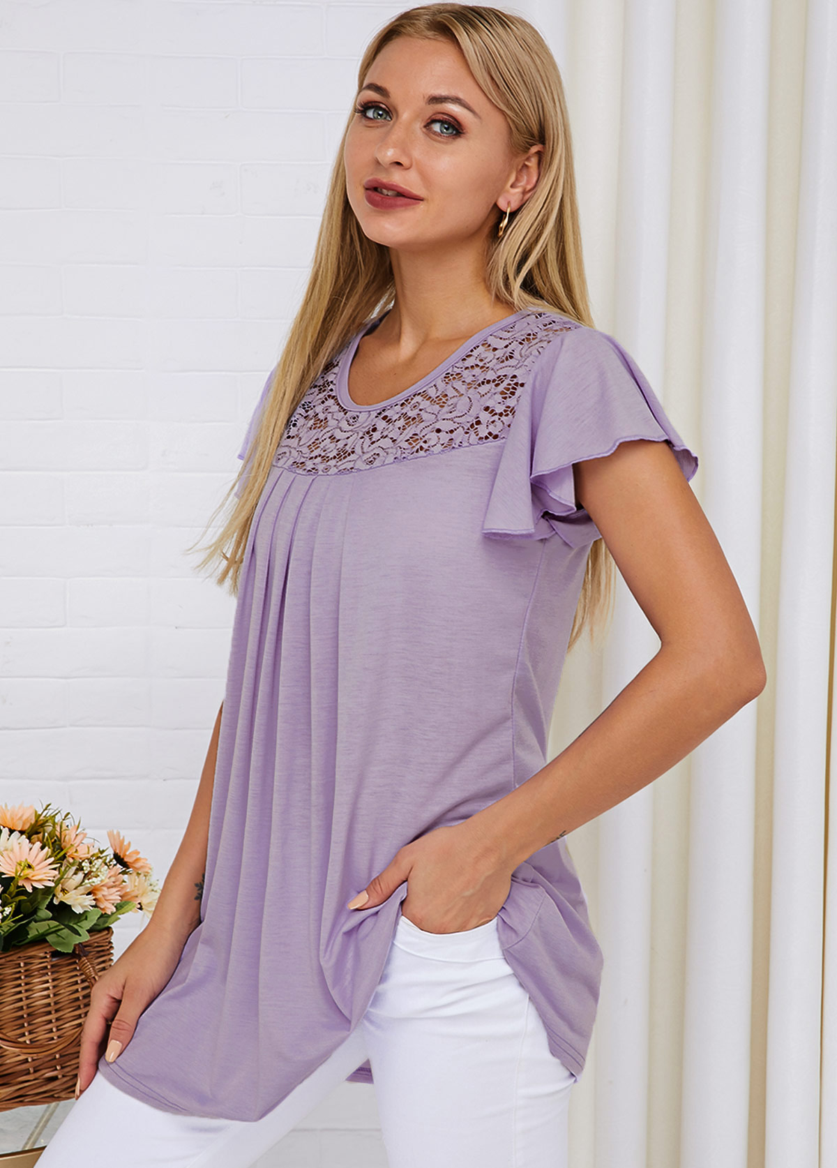 Short Sleeve Lace Panel Light Purple T Shirt