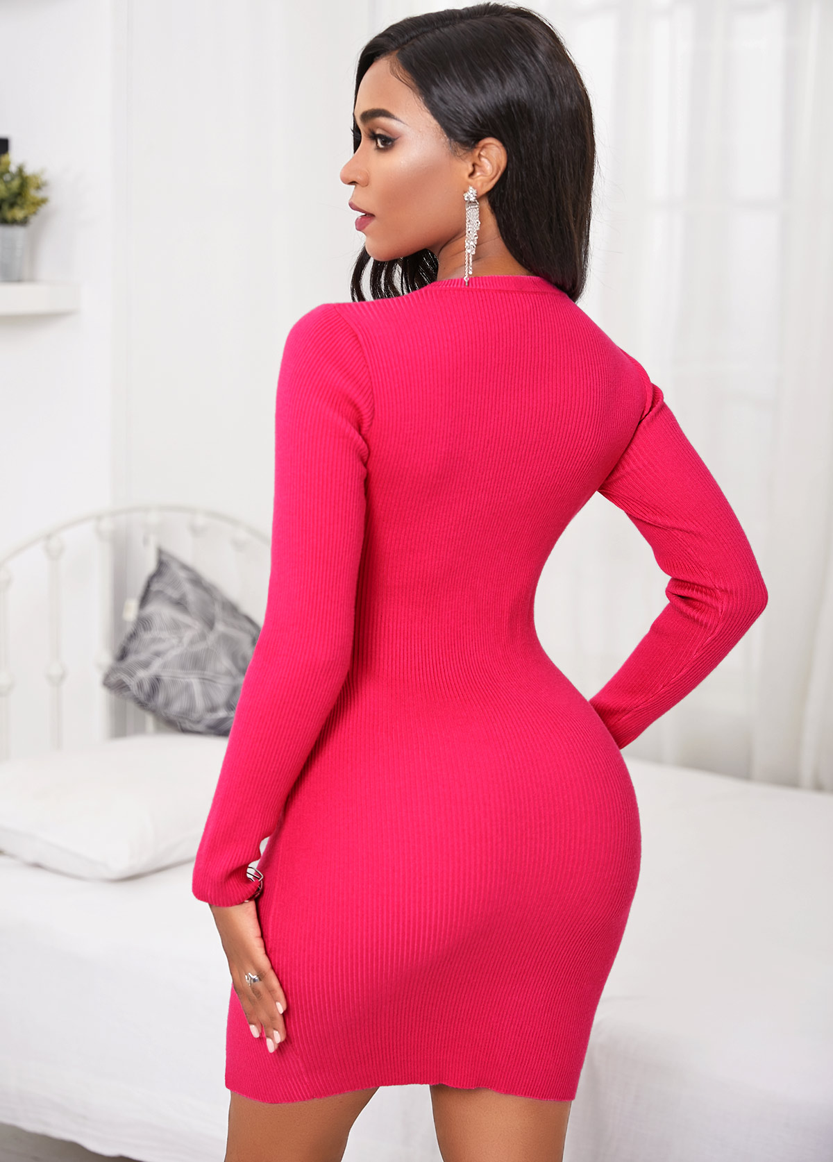 Round Neck Lace Up Long Sleeve Sweater Dress