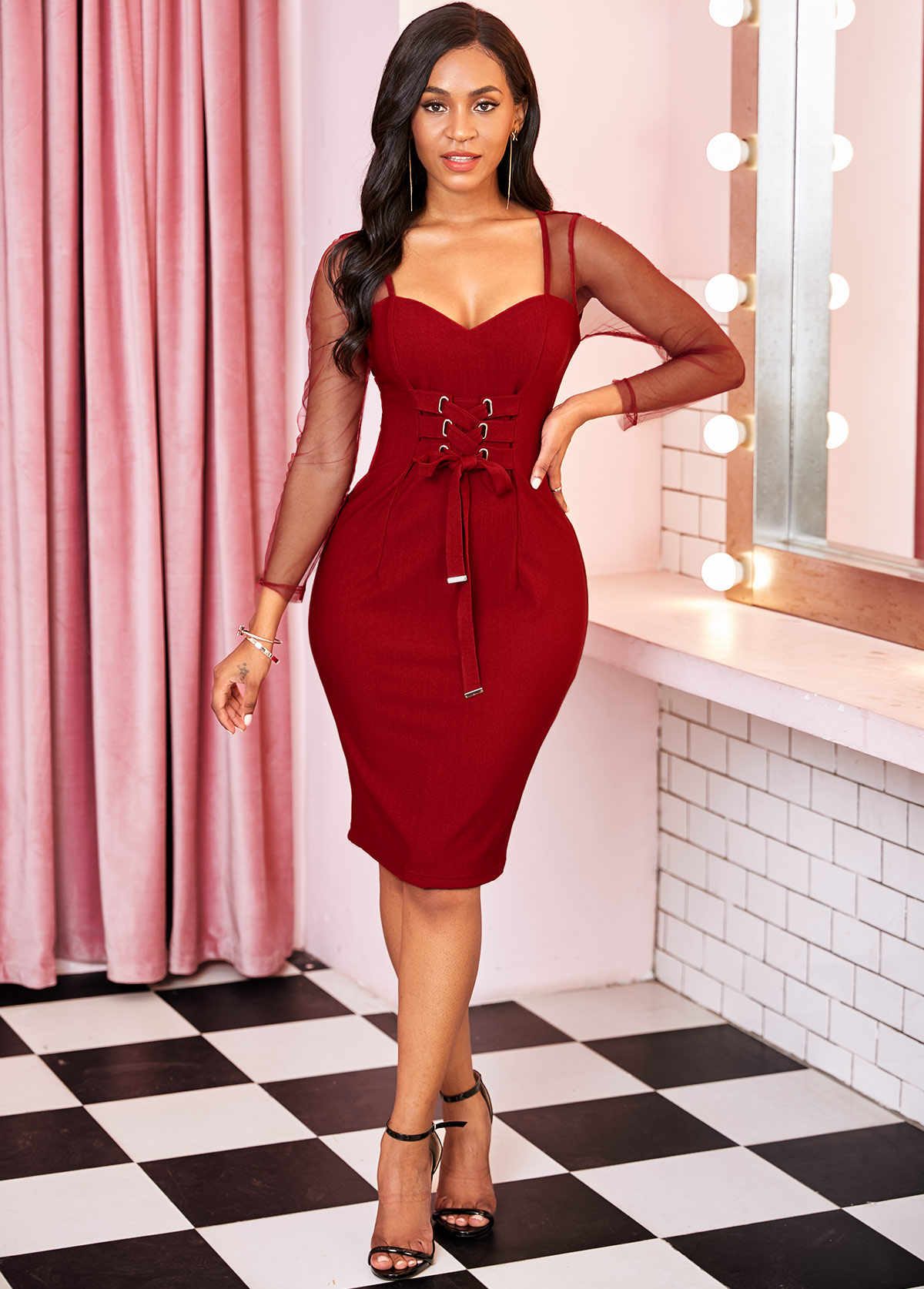 Lace Up Long Sleeve Mesh Panel Bodycon Dress