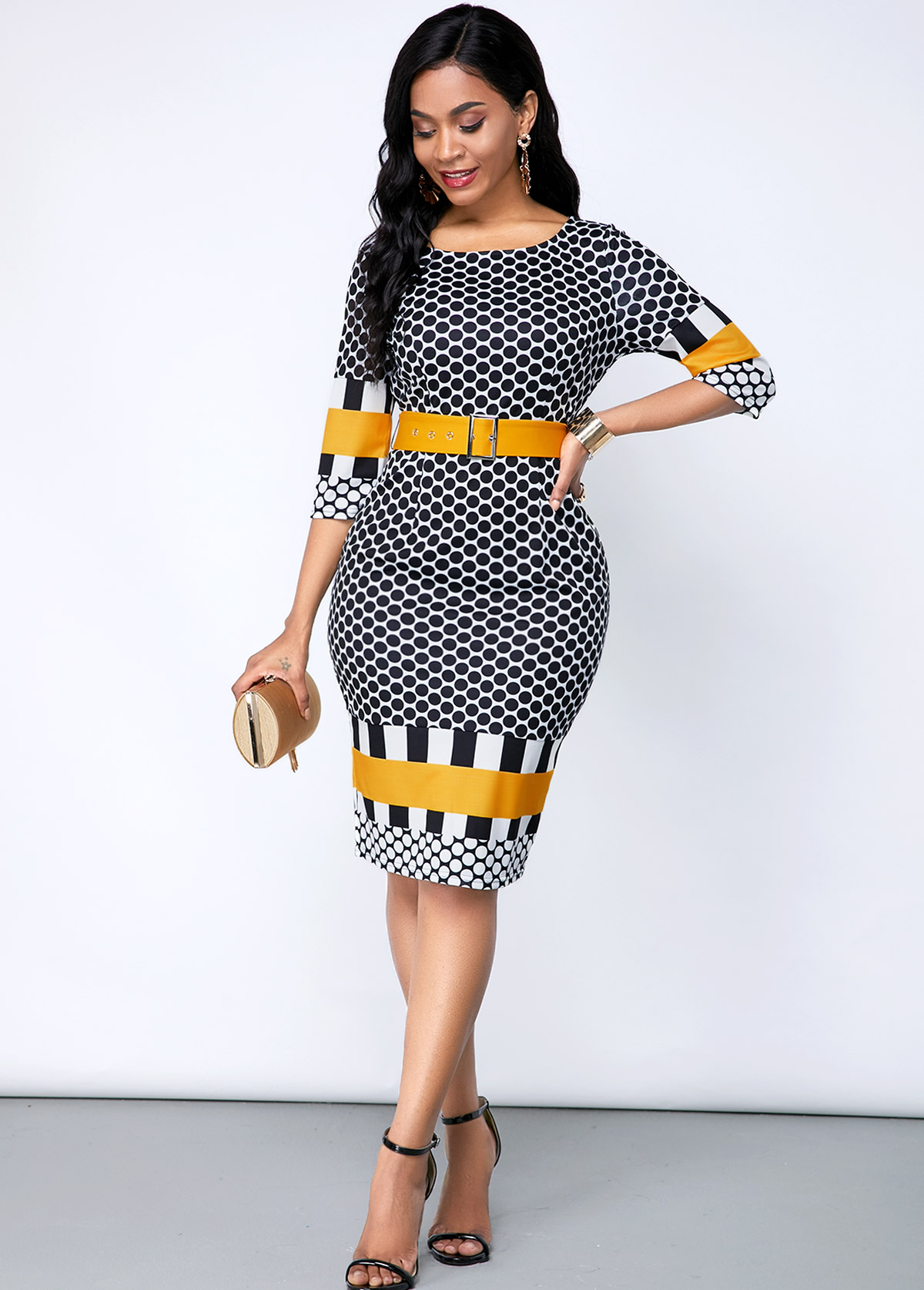 Buckle Belted Geometric Print Round Neck Dress
