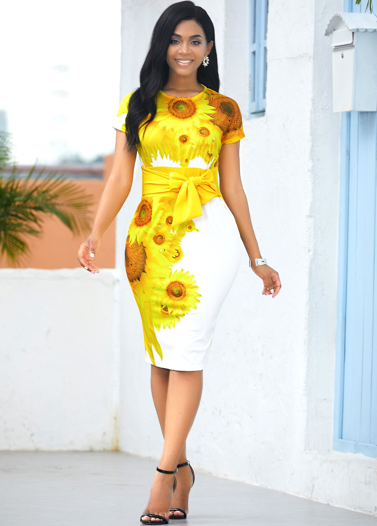Tie Waist Short Sleeve Sunflower Print Dress