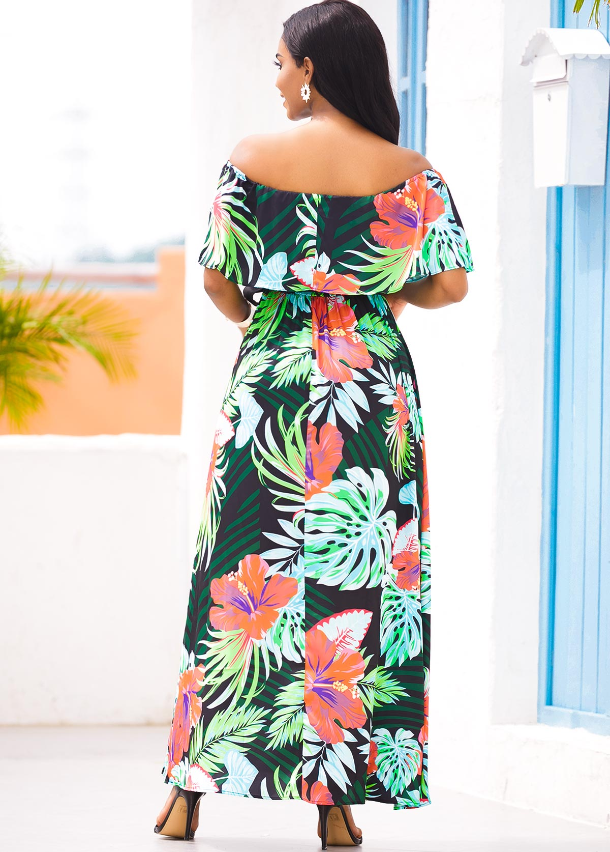 Tropical Print Off the Shoulder Overlay Dress
