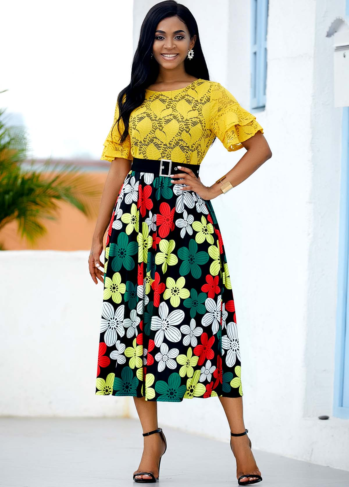 Buckle Belted Lace Panel Floral Print Dress