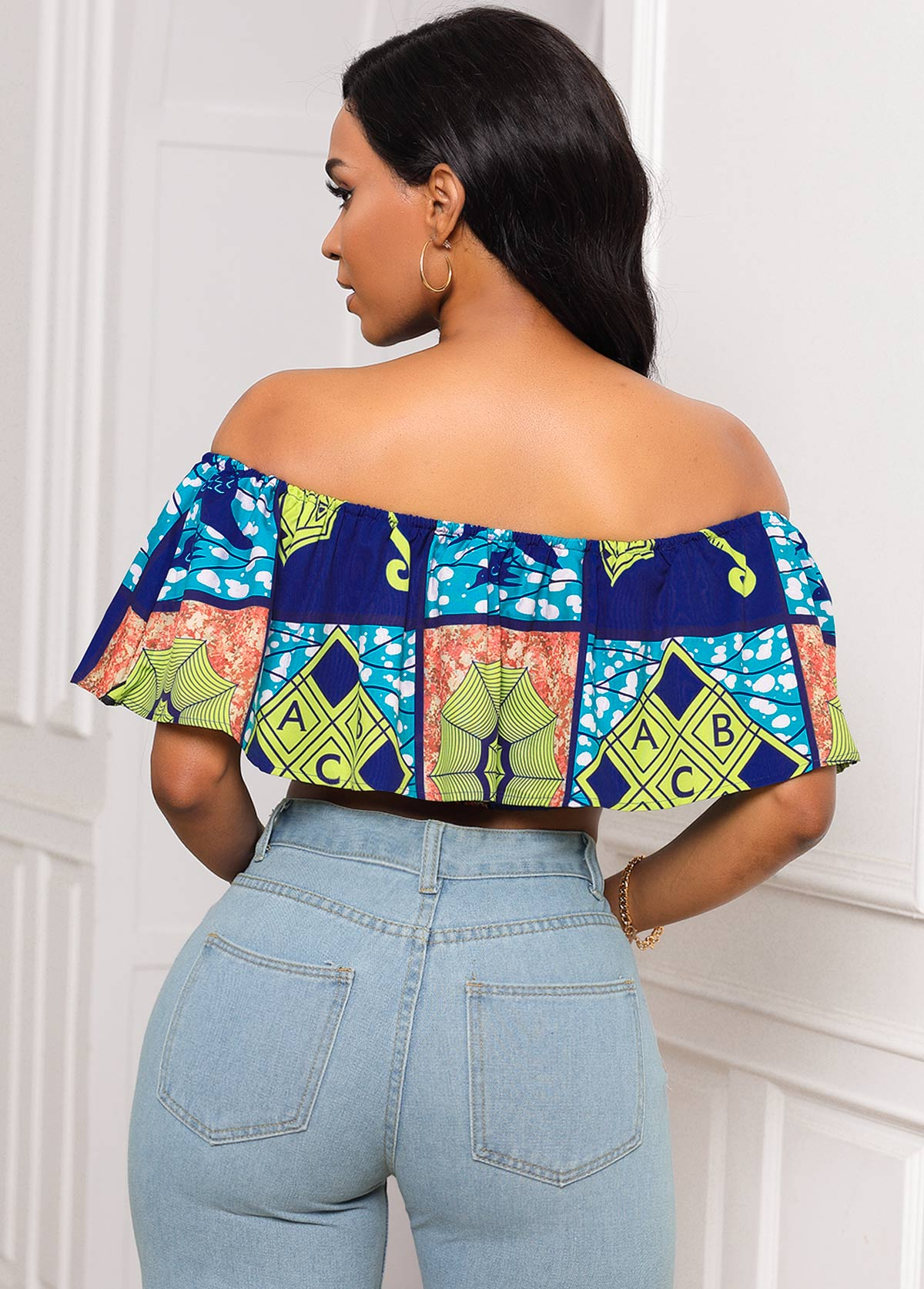 Printed Ruffle Overlay Off the Shoulder Cropped Top