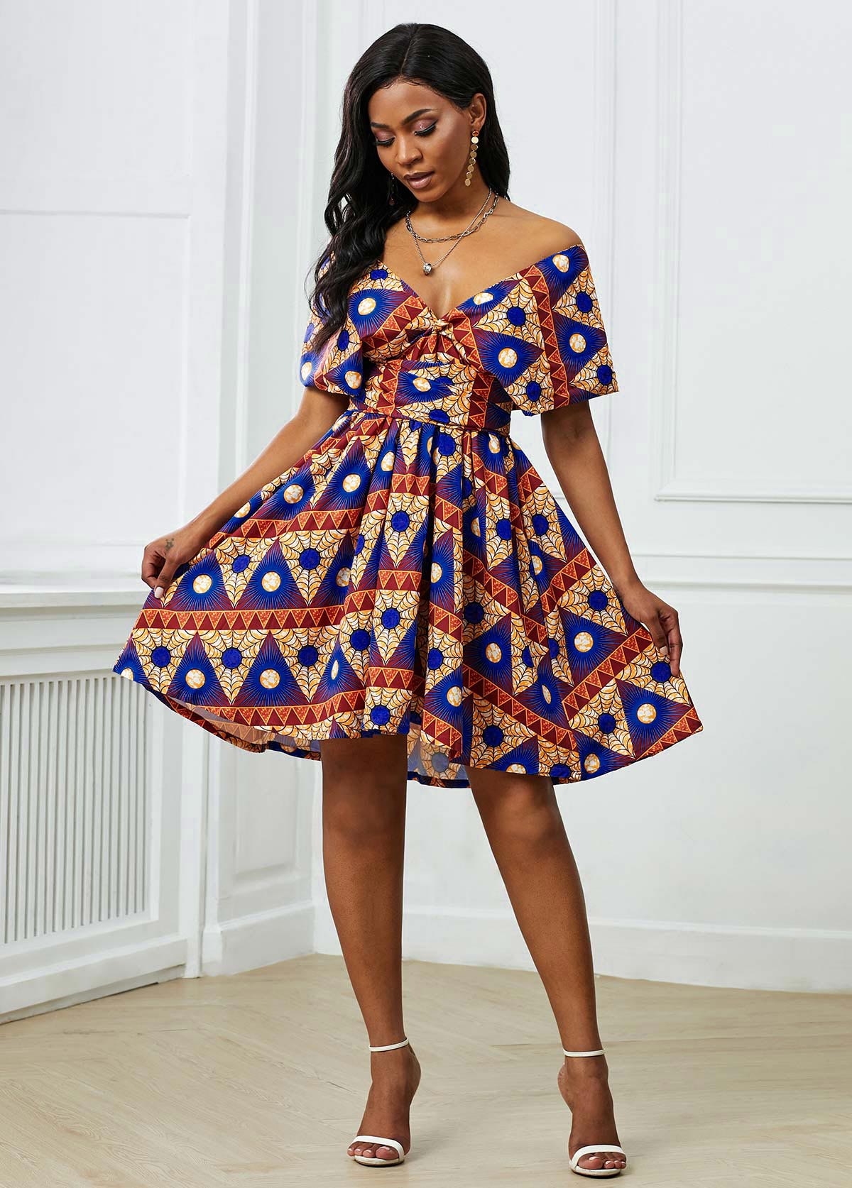 Plunging Neck Short Sleeve Tribal Print Dress