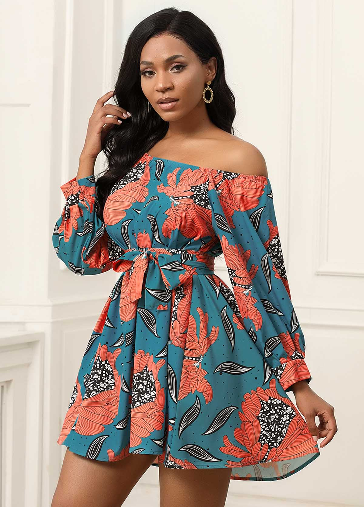 Tribal Print Long Sleeve Belted Mini Dress