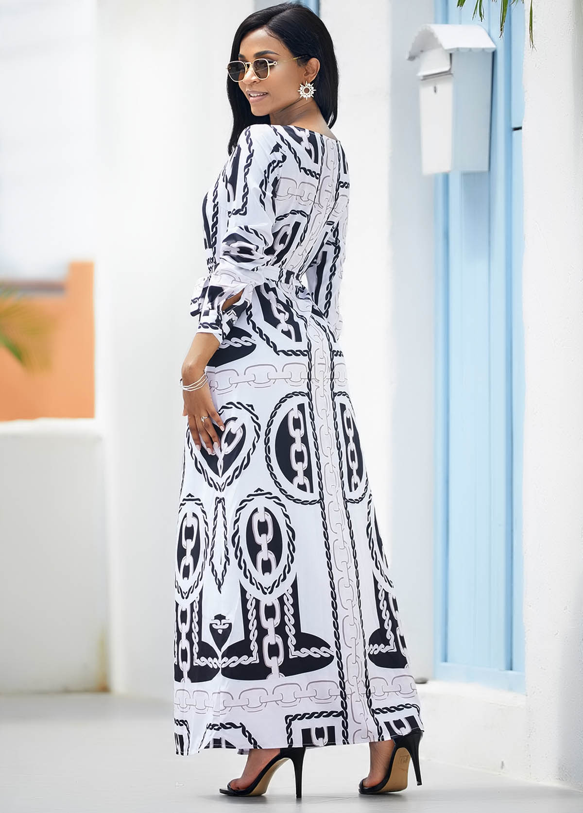 Chain Print V Neck Belted Maxi Dress