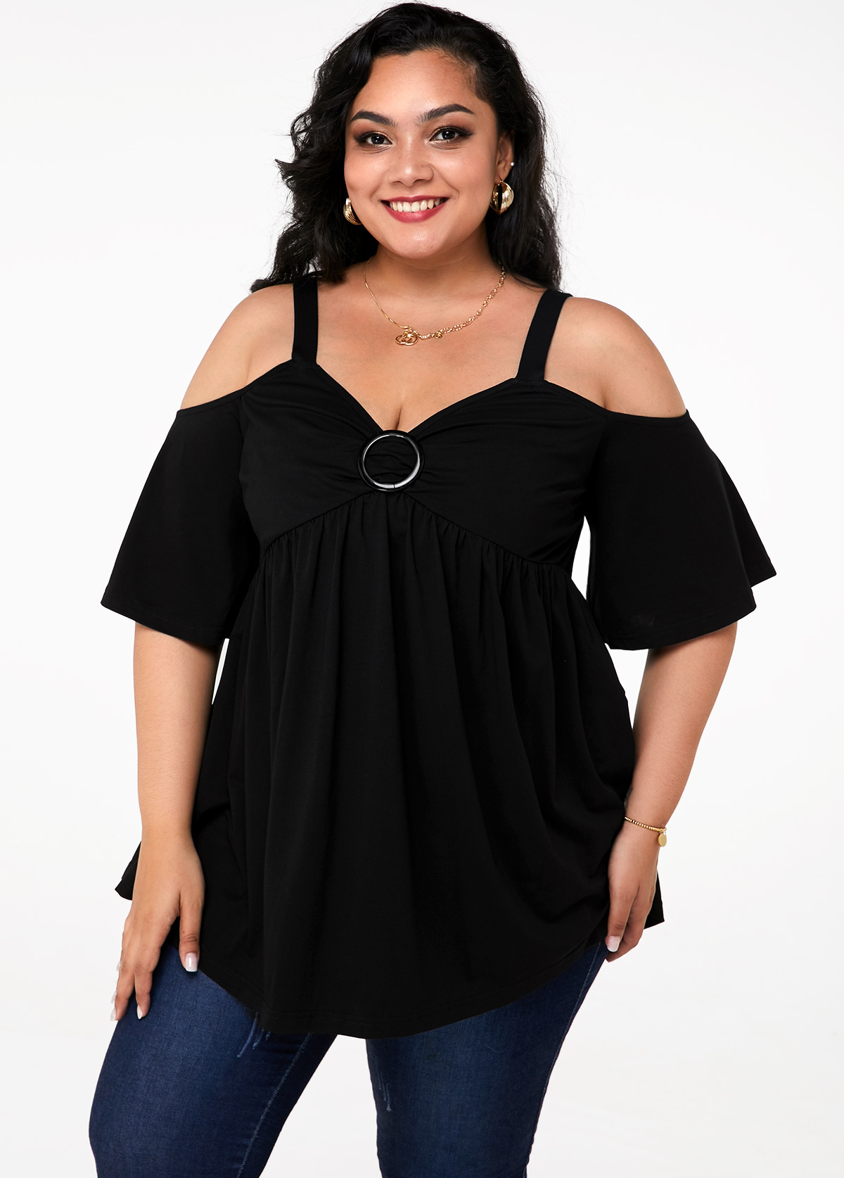 Strappy Cold Shoulder Ring Plus Size T Shirt