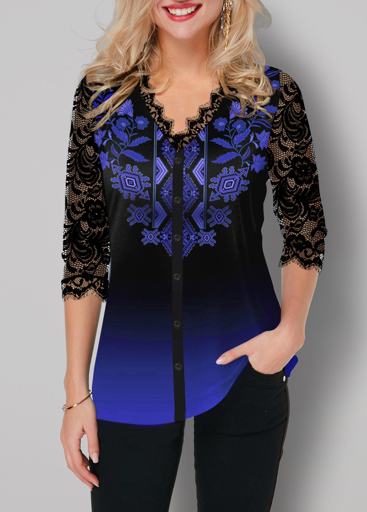 Tribal Print Ombre Lace Panel Button Up T Shirt