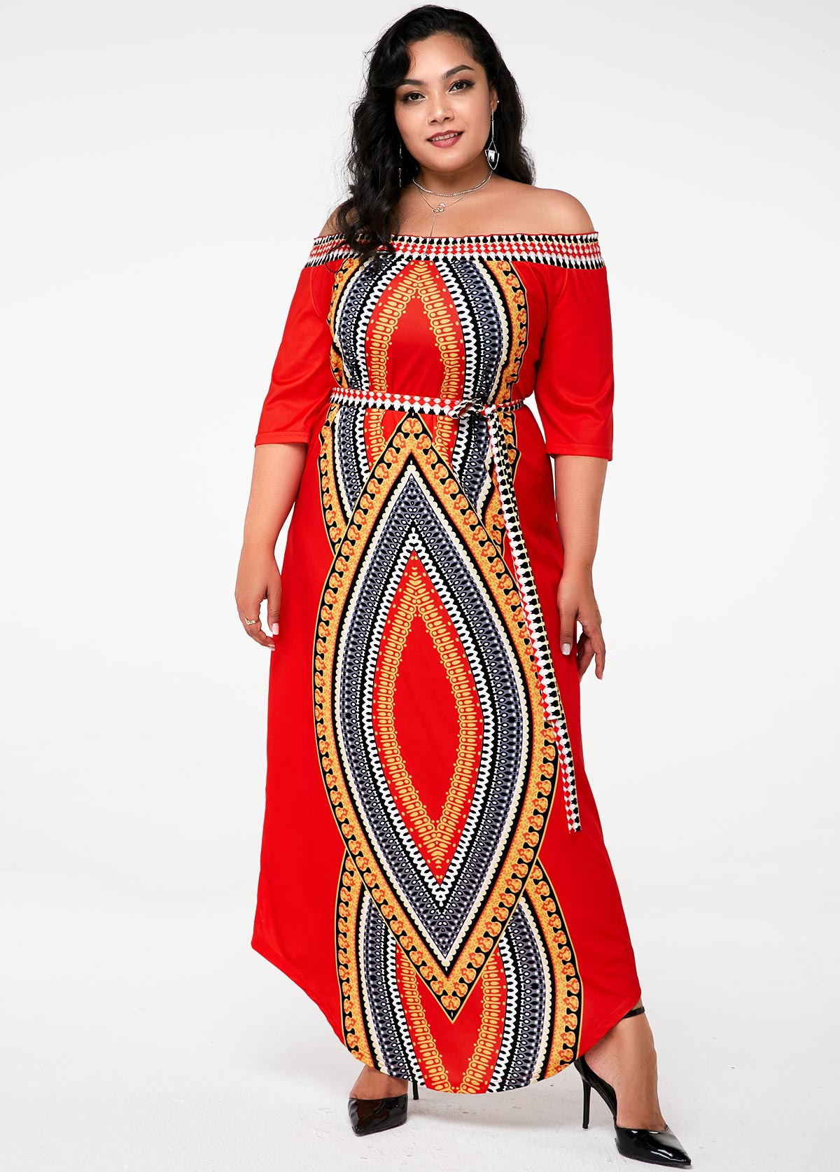 Tribal Print Off the Shoulder Plus Size Dress