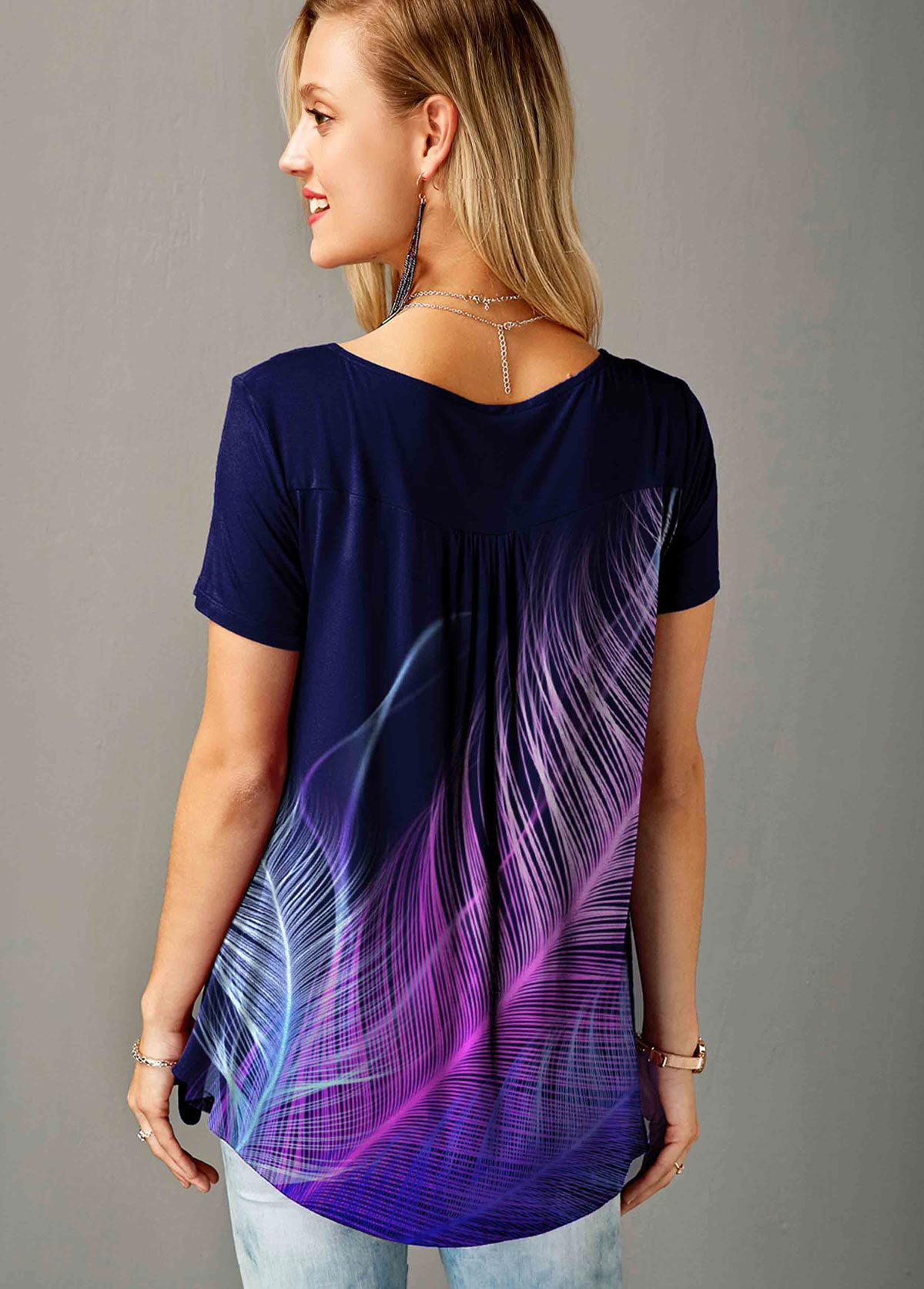 Split Neck Short Sleeve Feather Print T Shirt