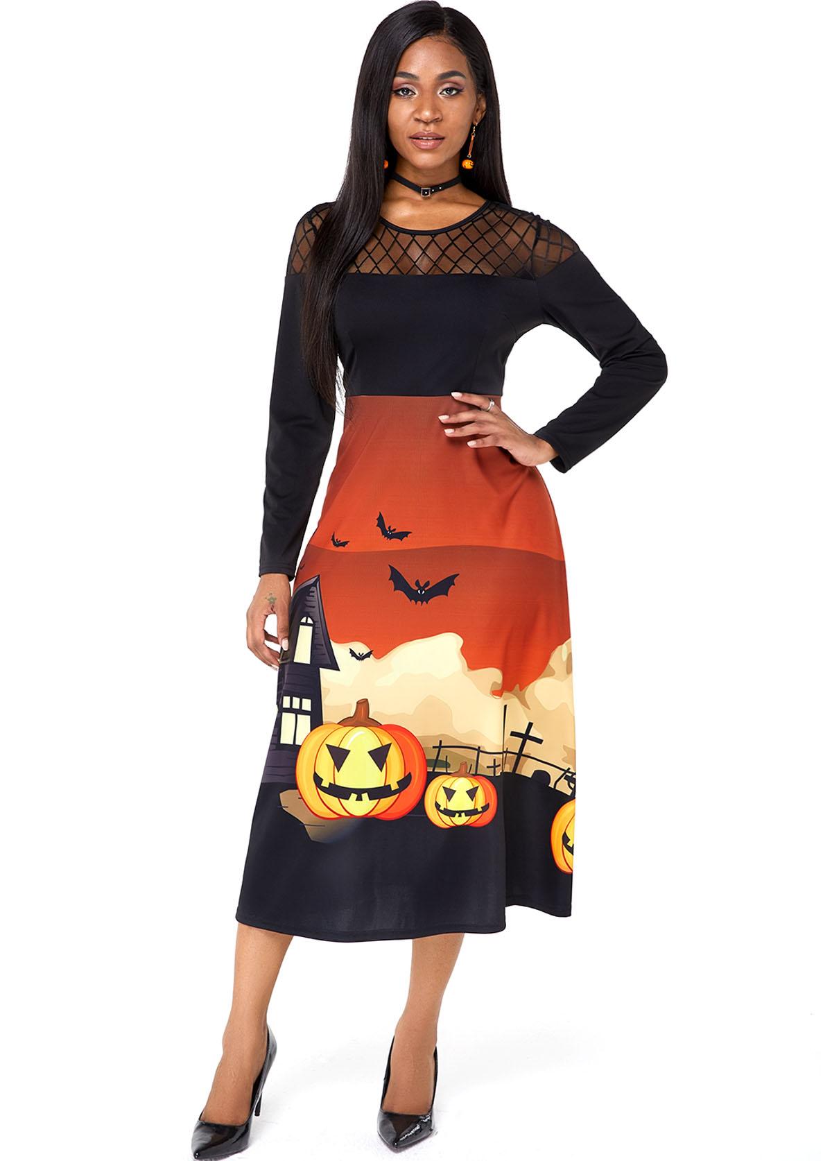 Mesh Panel Halloween Crazy Pumpkin Long Sleeve Dress