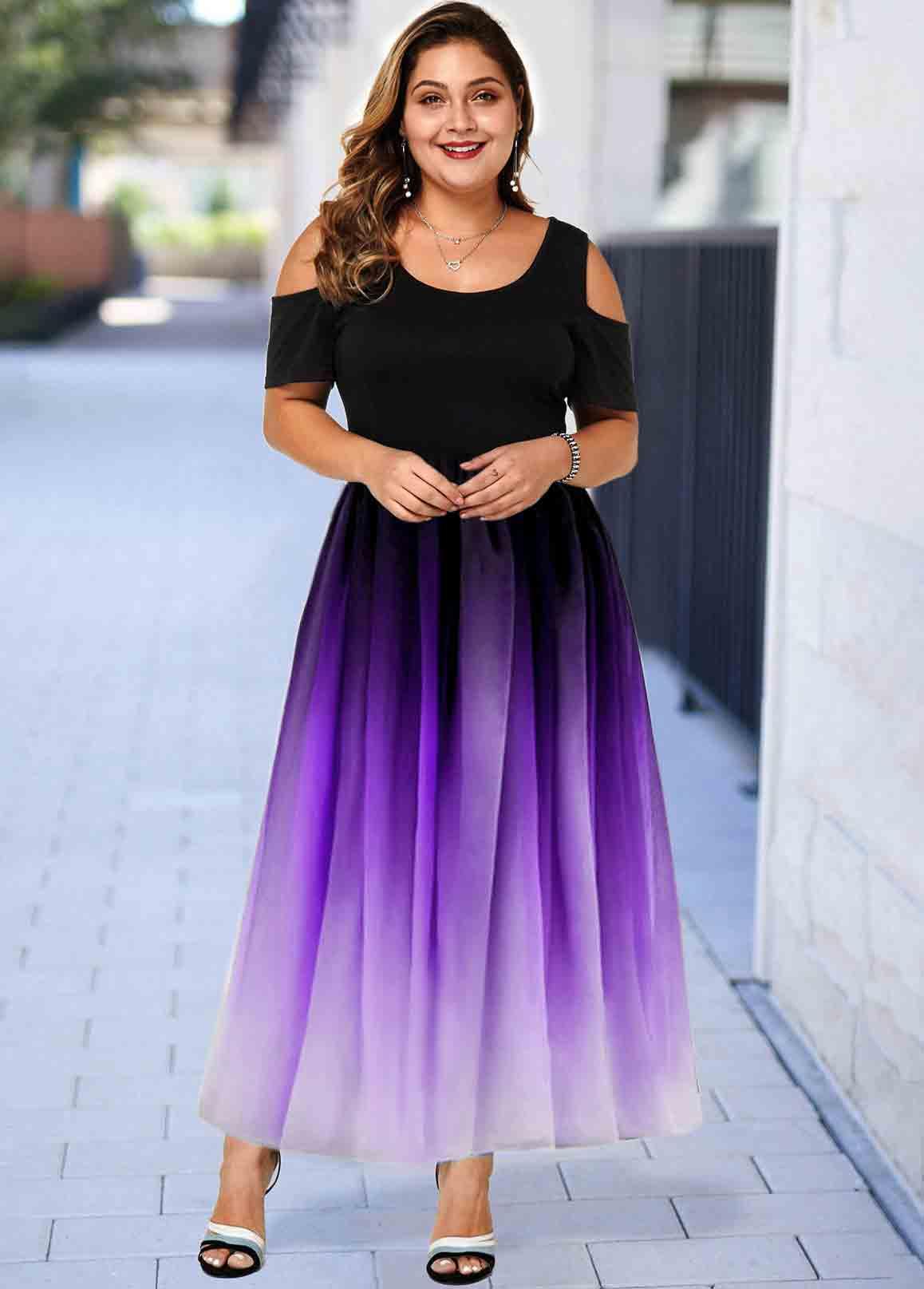 Cold Shoulder Ombre Plus Size Maxi Dress