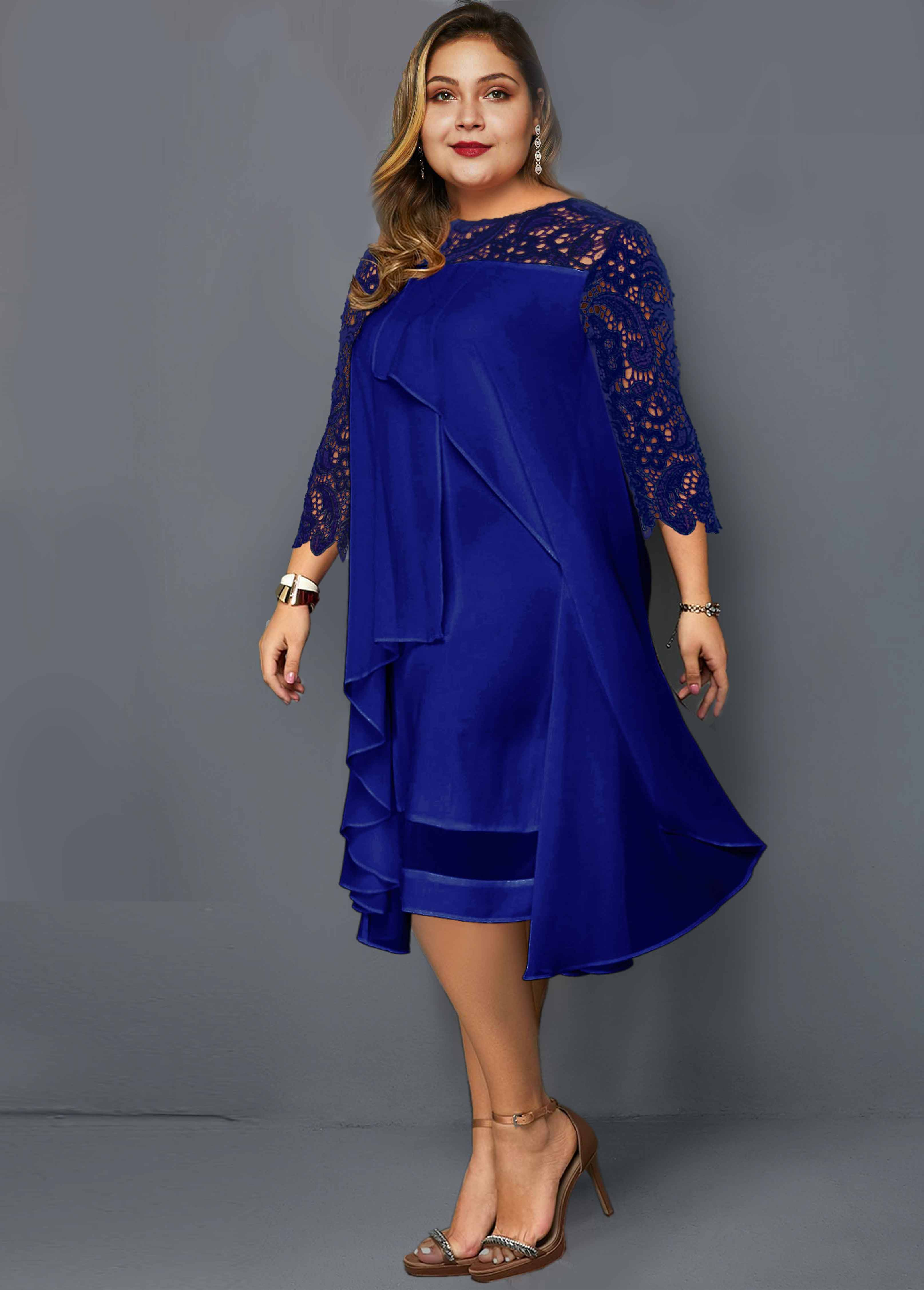 Lace Panel Chiffon Overlay Plus Size Dress