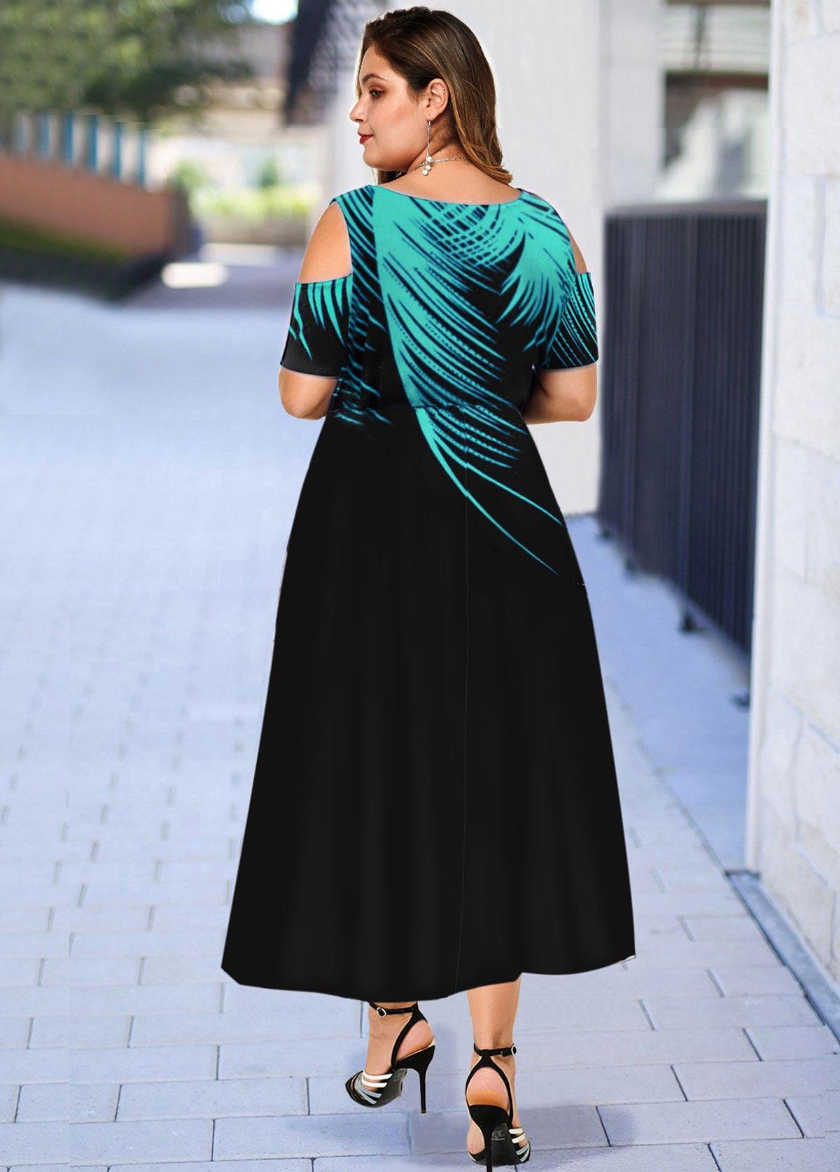 Palm Leaf Print Cold Shoulder Plus Size Dress