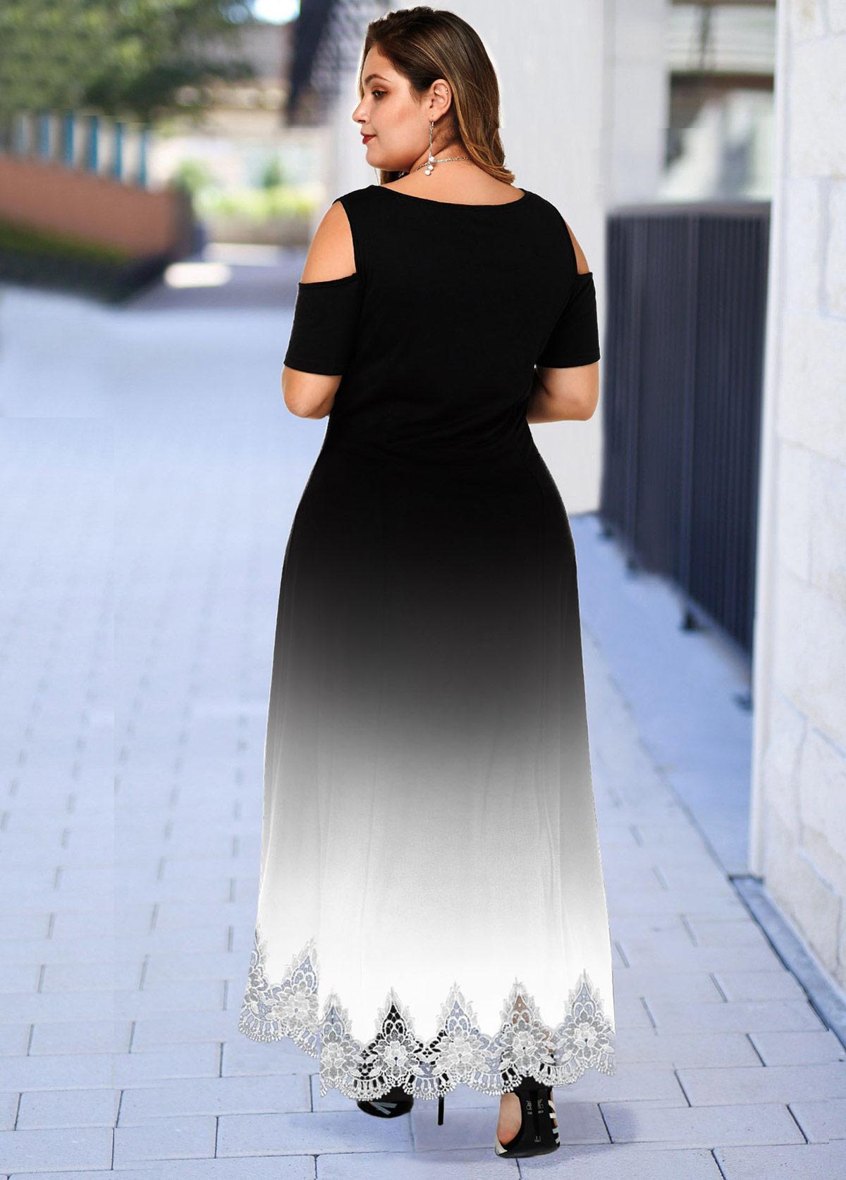 Plus Size Lace Hem Cold Shoulder Ombre Dress