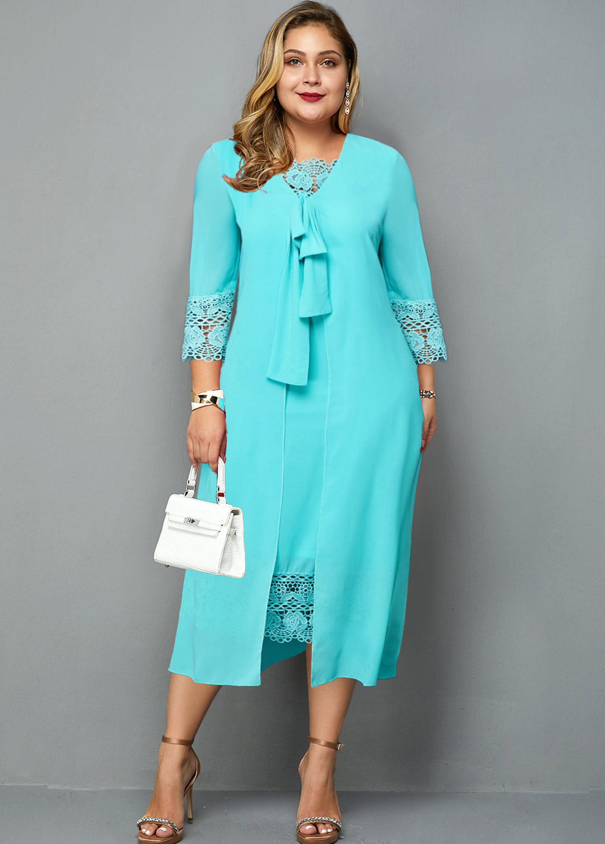 Lace Panel Knot Detail Plus Size Dress