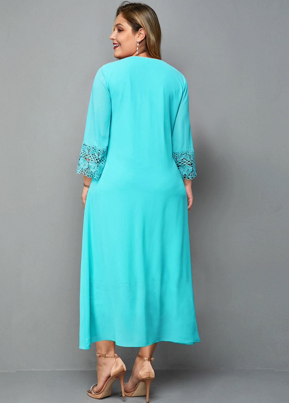 Lace Panel Knot Detail Plus Size Dress