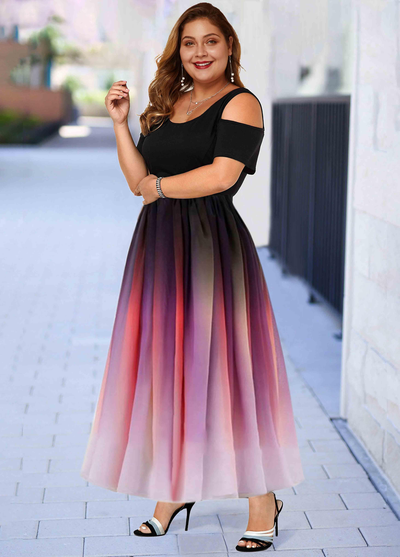 Ombre Cold Shoulder Plus Size Maxi Dress