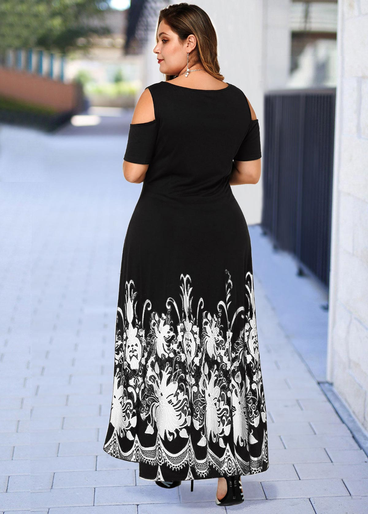 Floral Print Cold Shoulder Plus Size High Low Dress