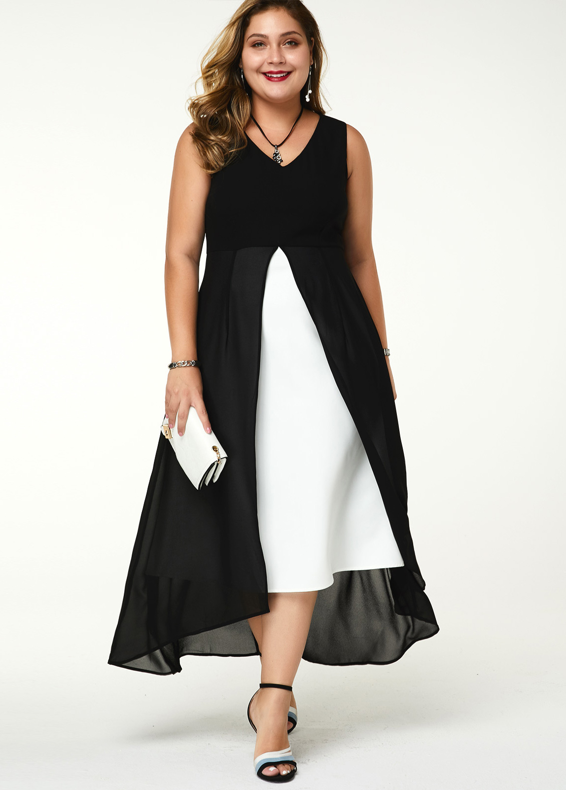 Plus Size V Neck Contrast Sleeveless Dress