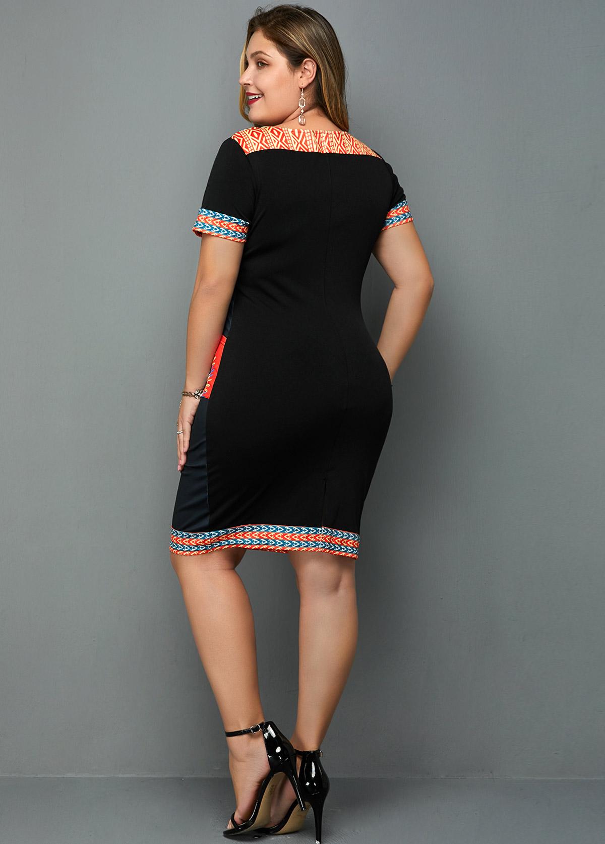 Tribal Print Short Sleeve Plus Size Dress