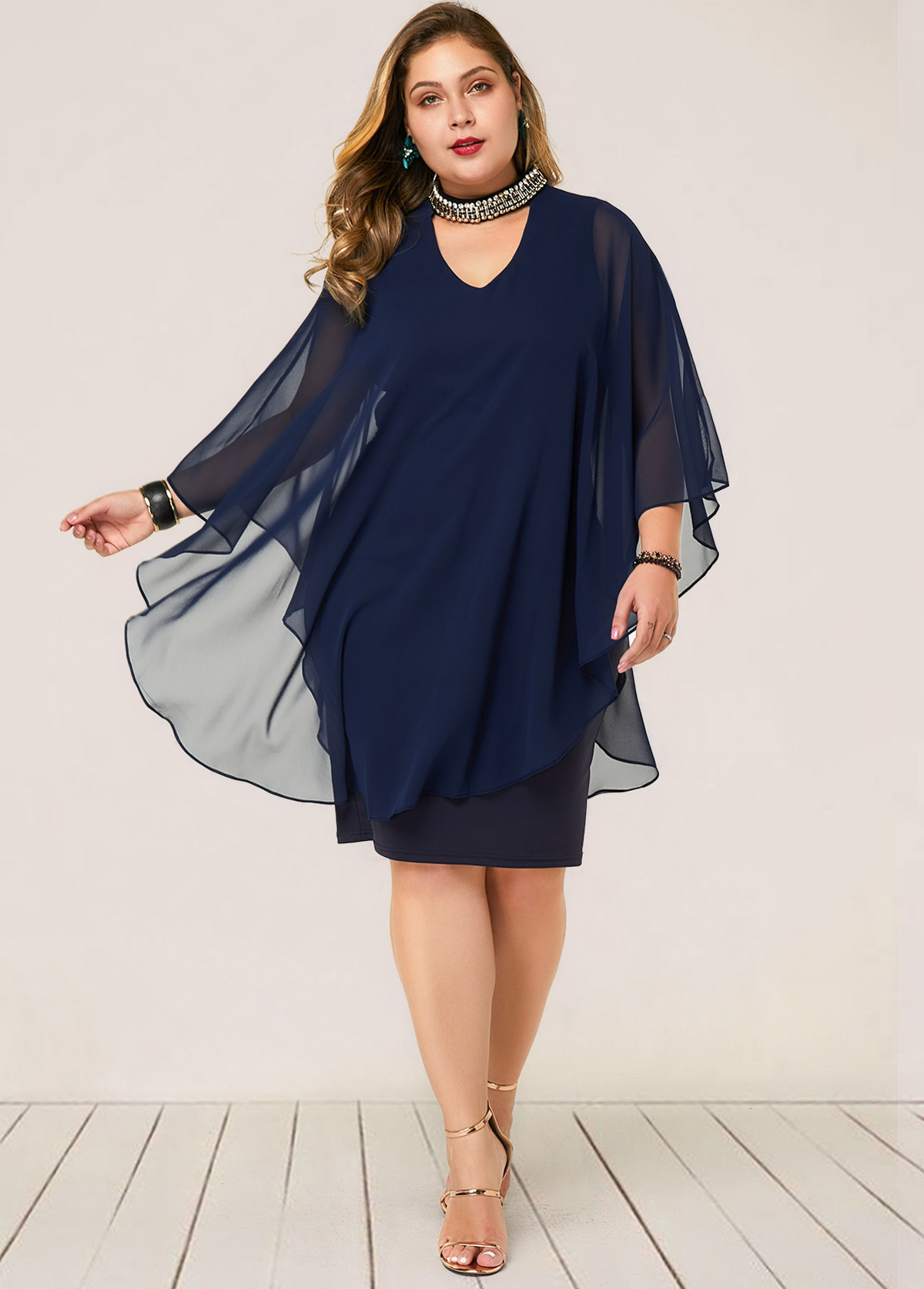 Faux Two Piece Embellished Neck Plus Size Dress