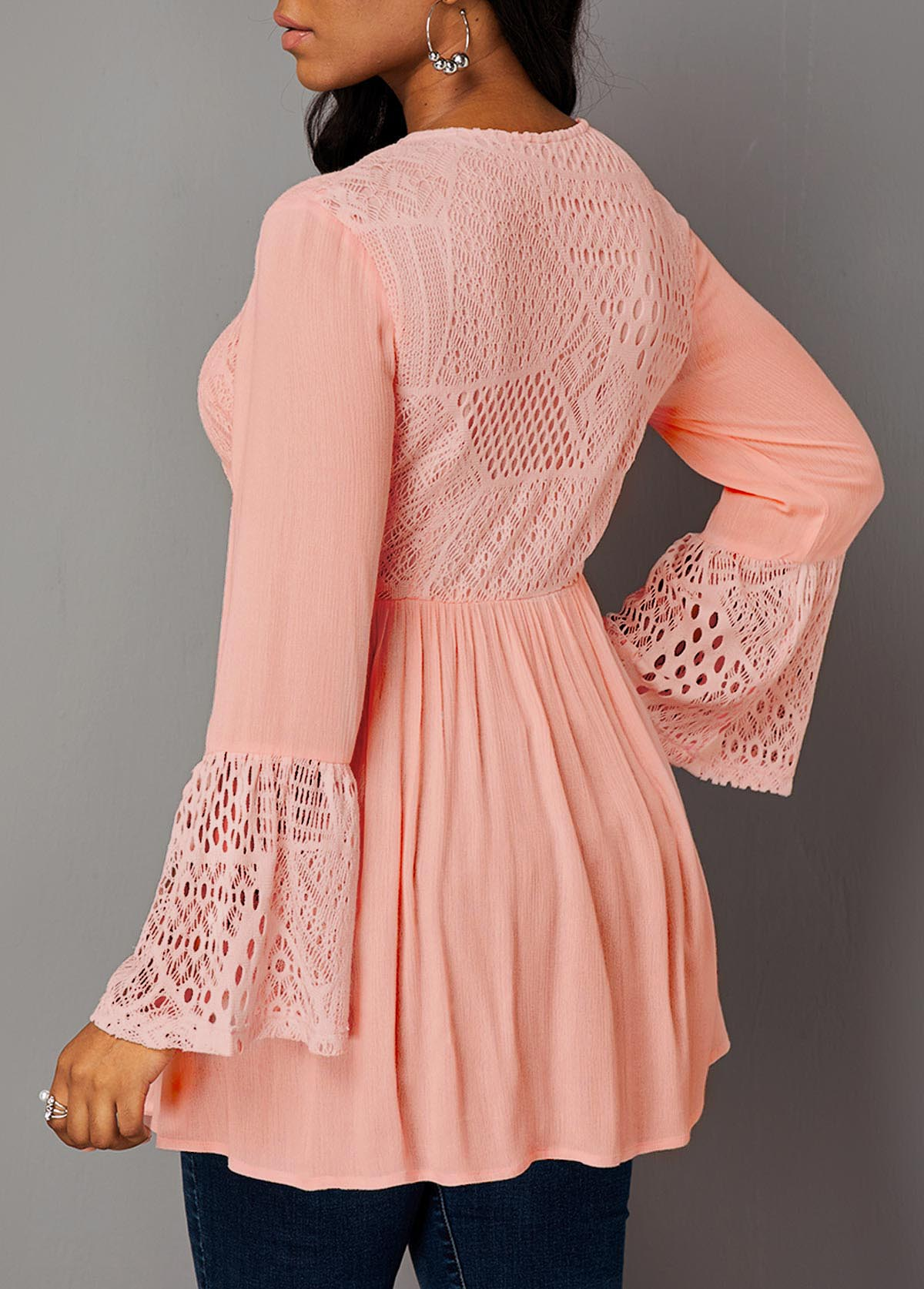 Button Up Lace Panel Long Sleeve Blouse