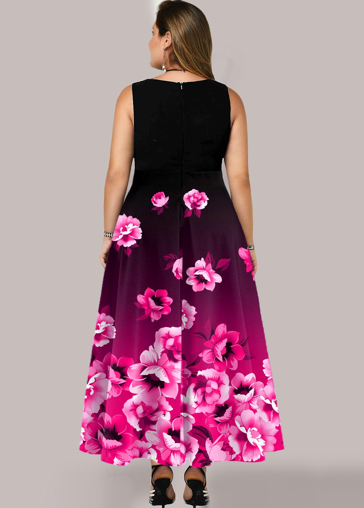 Floral Print Ombre Plus Size Maxi Dress