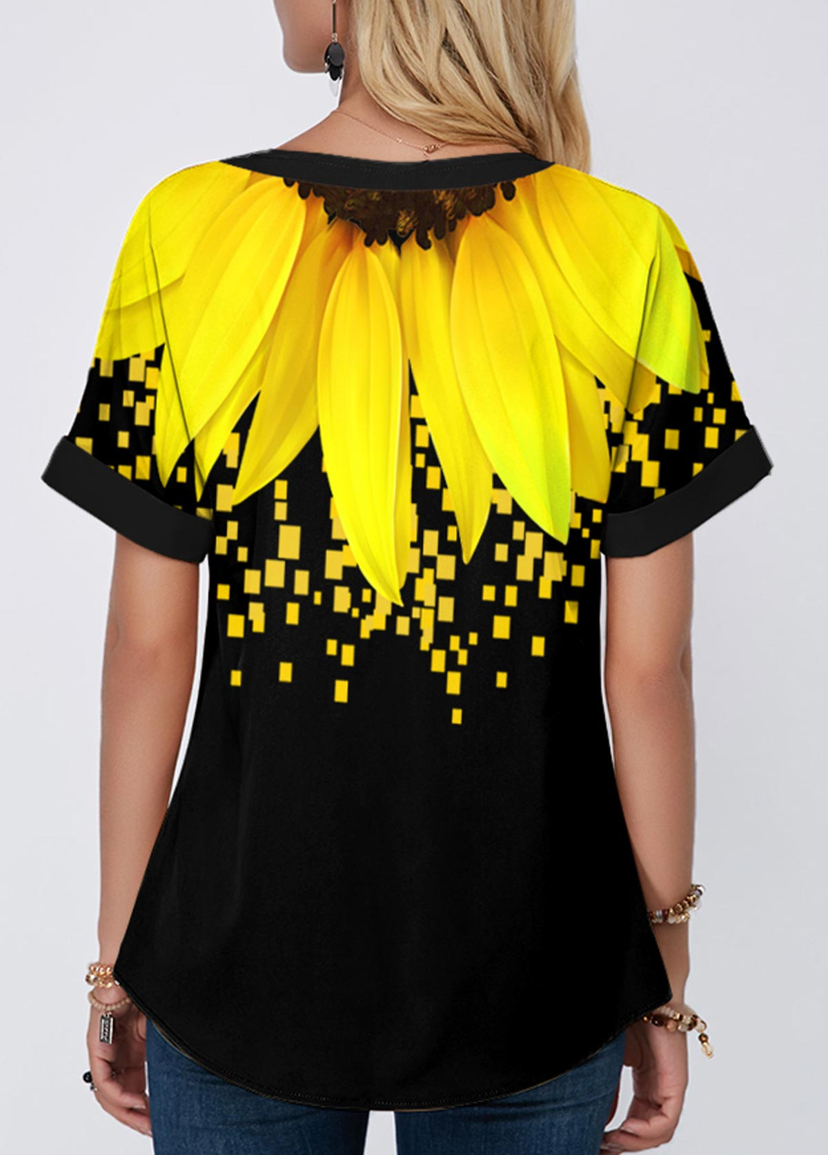 Lace Up Short Sleeve Sunflower Print Blouse