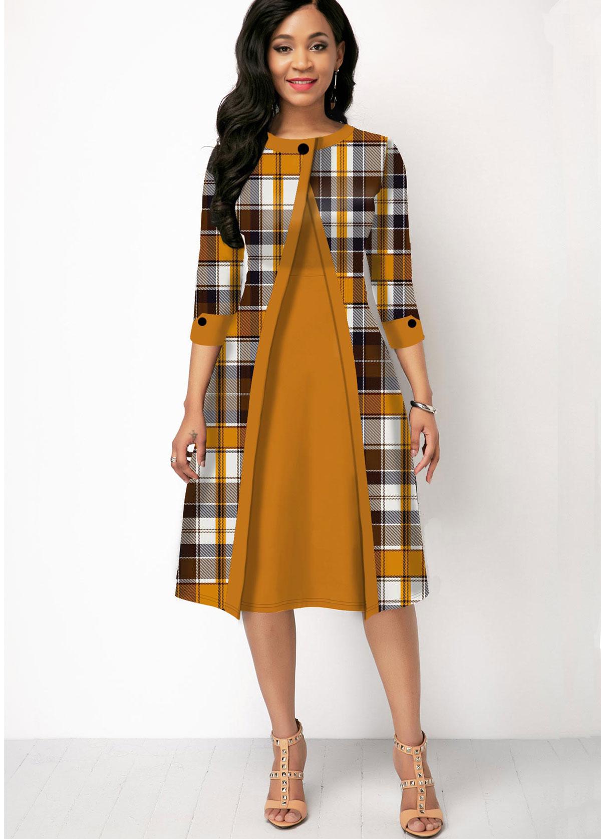 Three Quarter Sleeve Plaid Print Contrast Dress