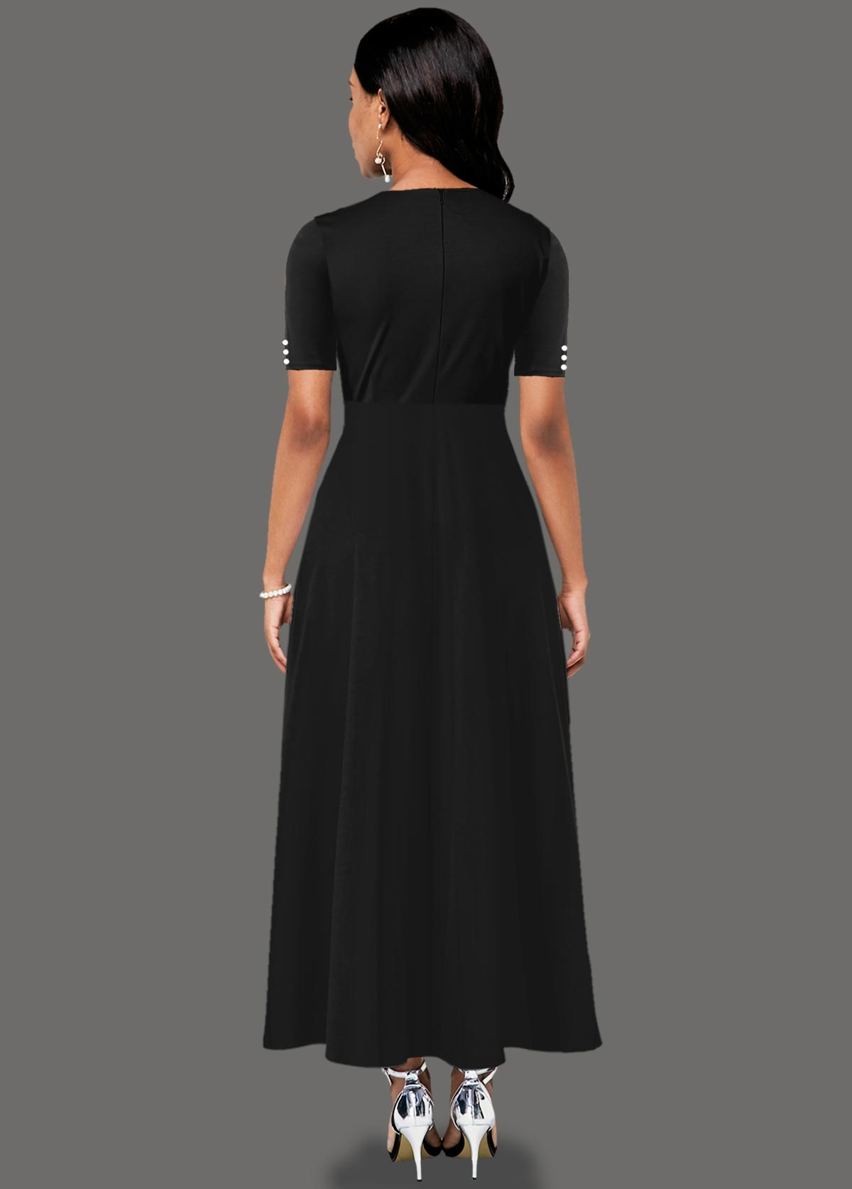 Inclined Button Side Pocket Contrast Maxi Dress