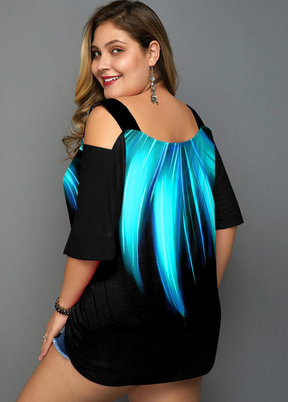 Palm Leaf Print Cold Shoulder Plus Size T Shirt