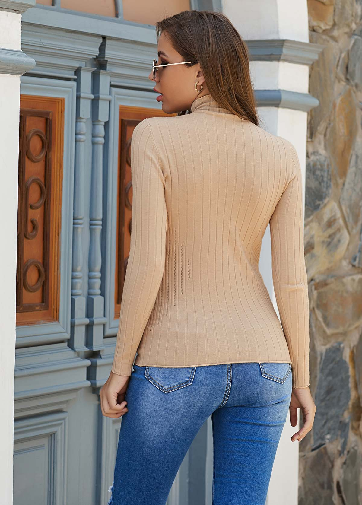 Pullover Long Sleeve Mock Neck Sweater