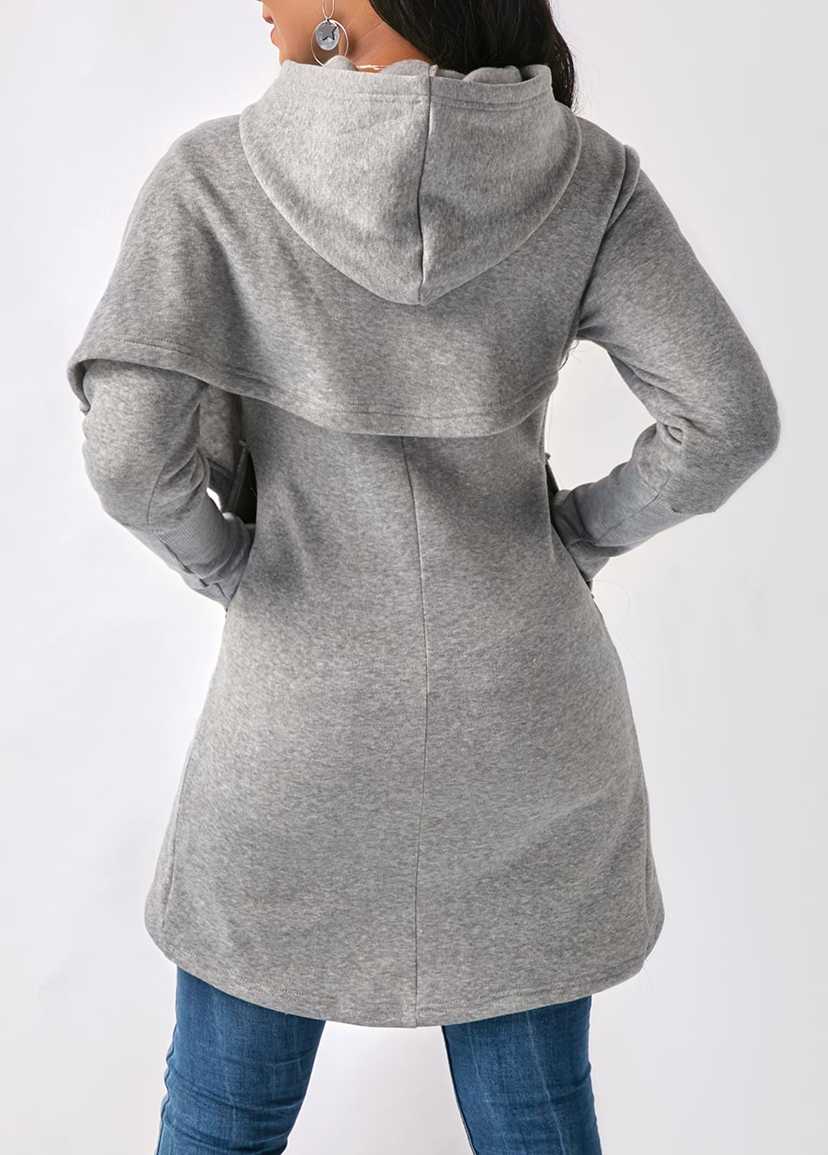 Side Pocket Tulip Hem Long Sleeve Hoodie