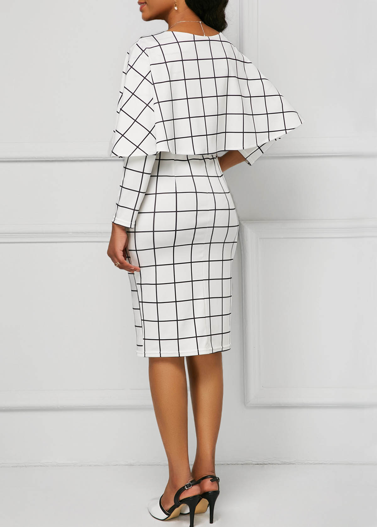 Long Sleeve Plaid Print Foldover Detail Dress