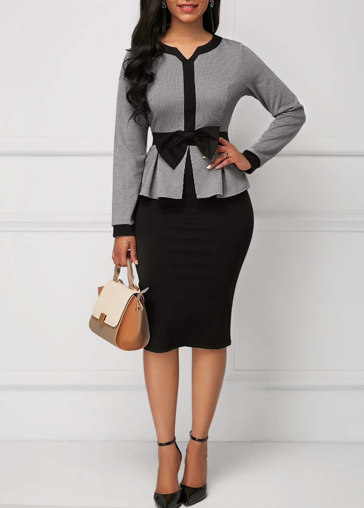 Bowknot Faux Two Piece Long Sleeve Dress