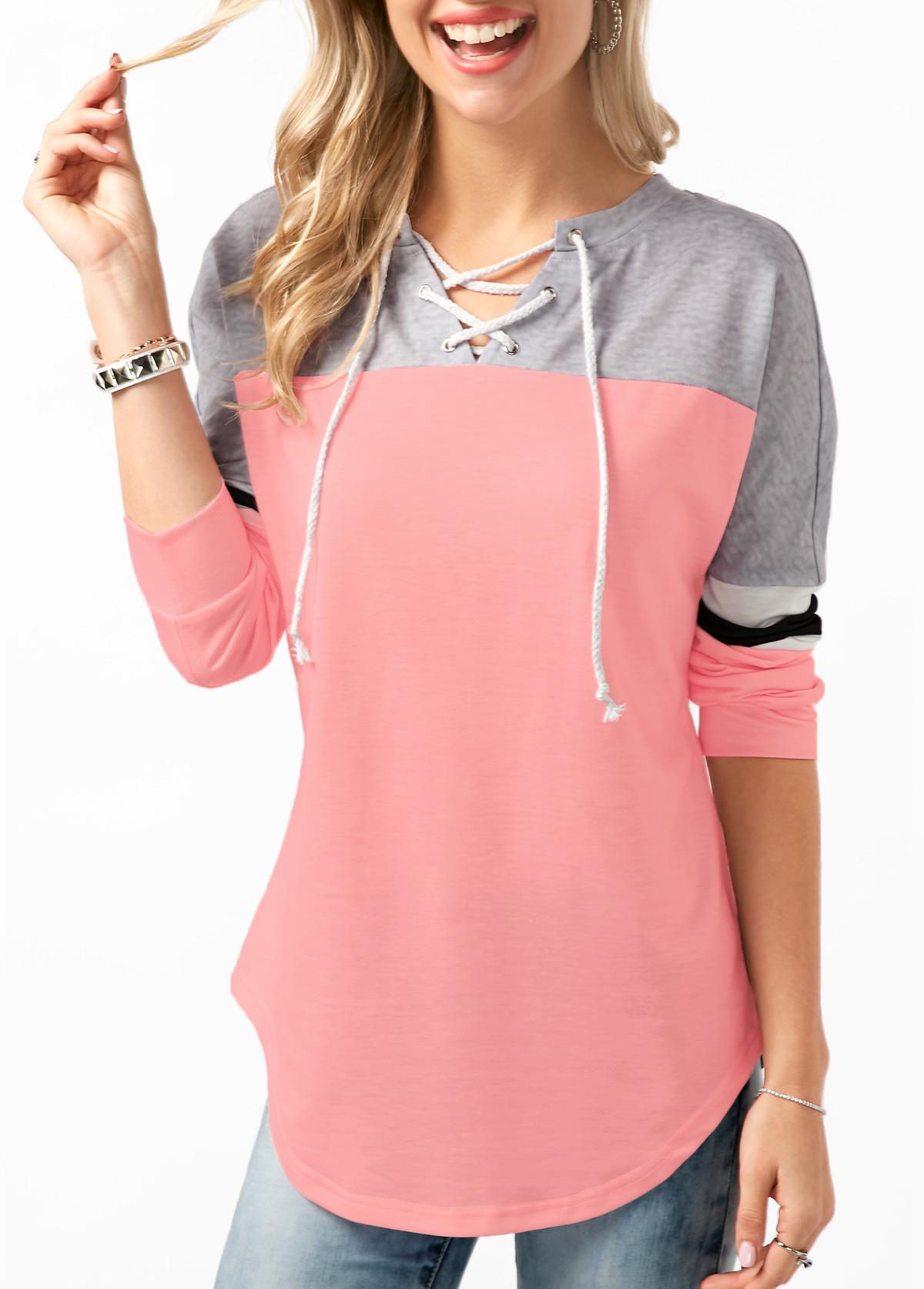 Long Sleeve Contrast Lace Up Sweatshirt