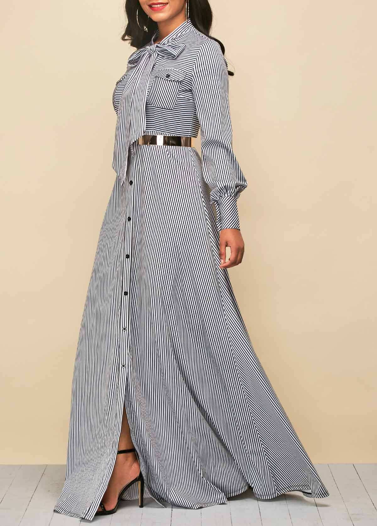 Tie Neck Stripe Print Button Up Dress