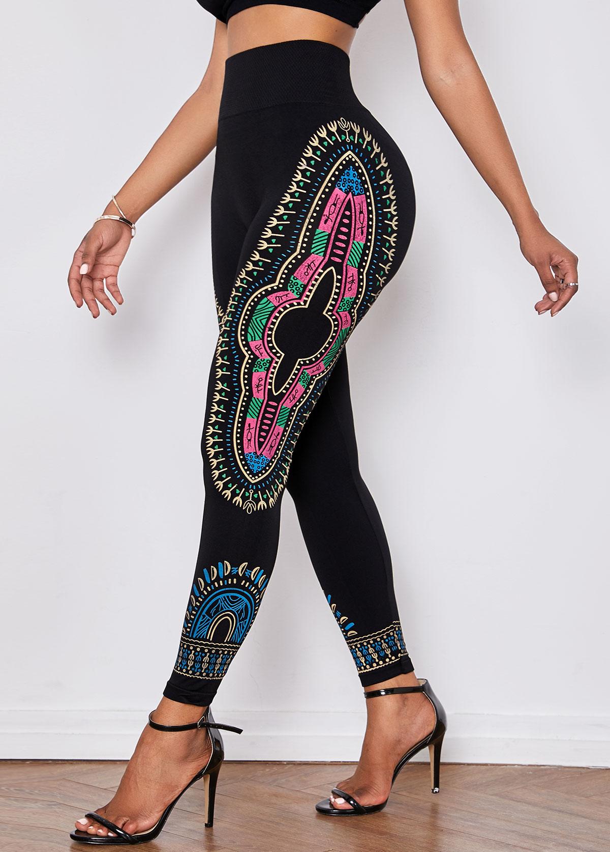Elastic Waist Dashiki Print Black Skinny Pants