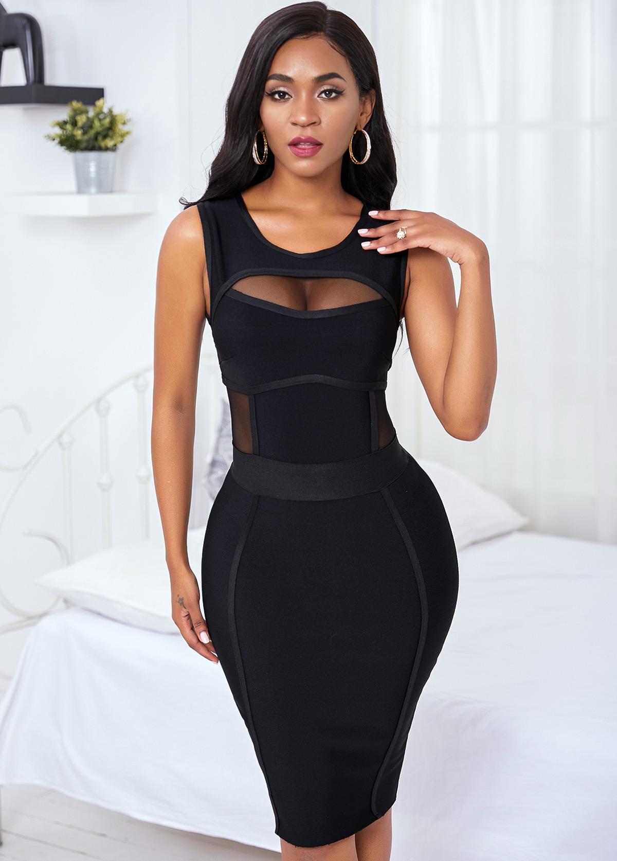 Sleeveless Black Mesh Panel Bandage Dress