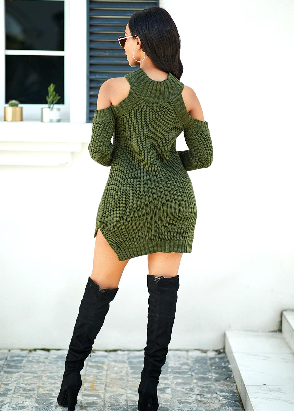 Long Sleeve Cold Shoulder Sweater Dress