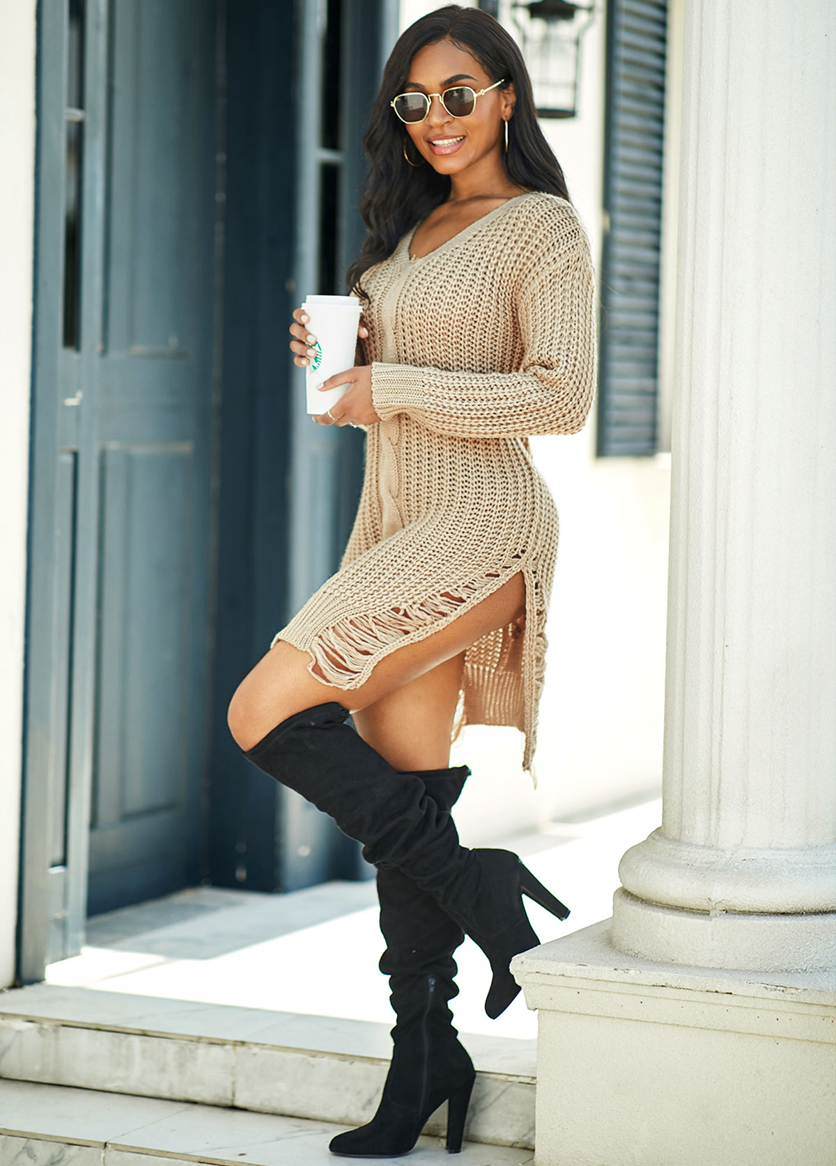 Cable Knit Long Sleeve Side Slit Sweater Dress