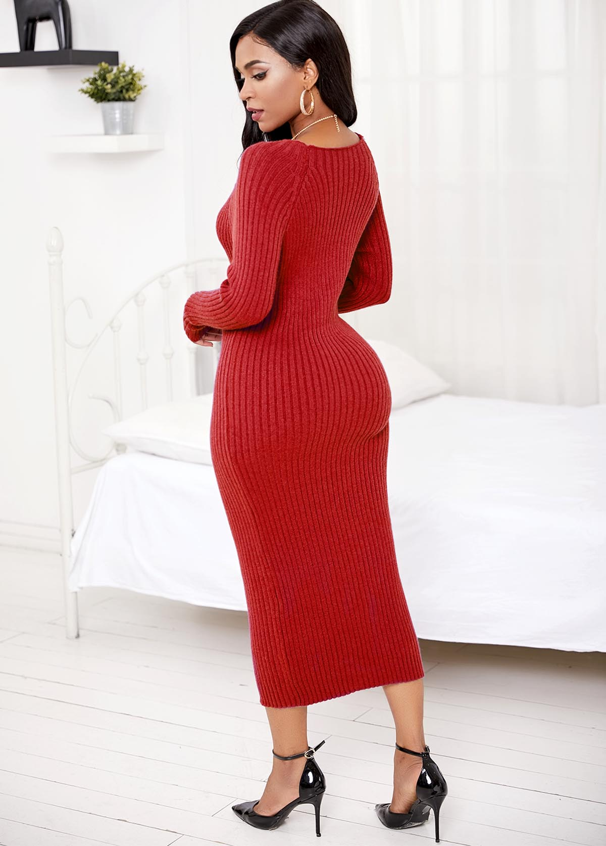 Long Sleeve Round Neck Sweater Dress