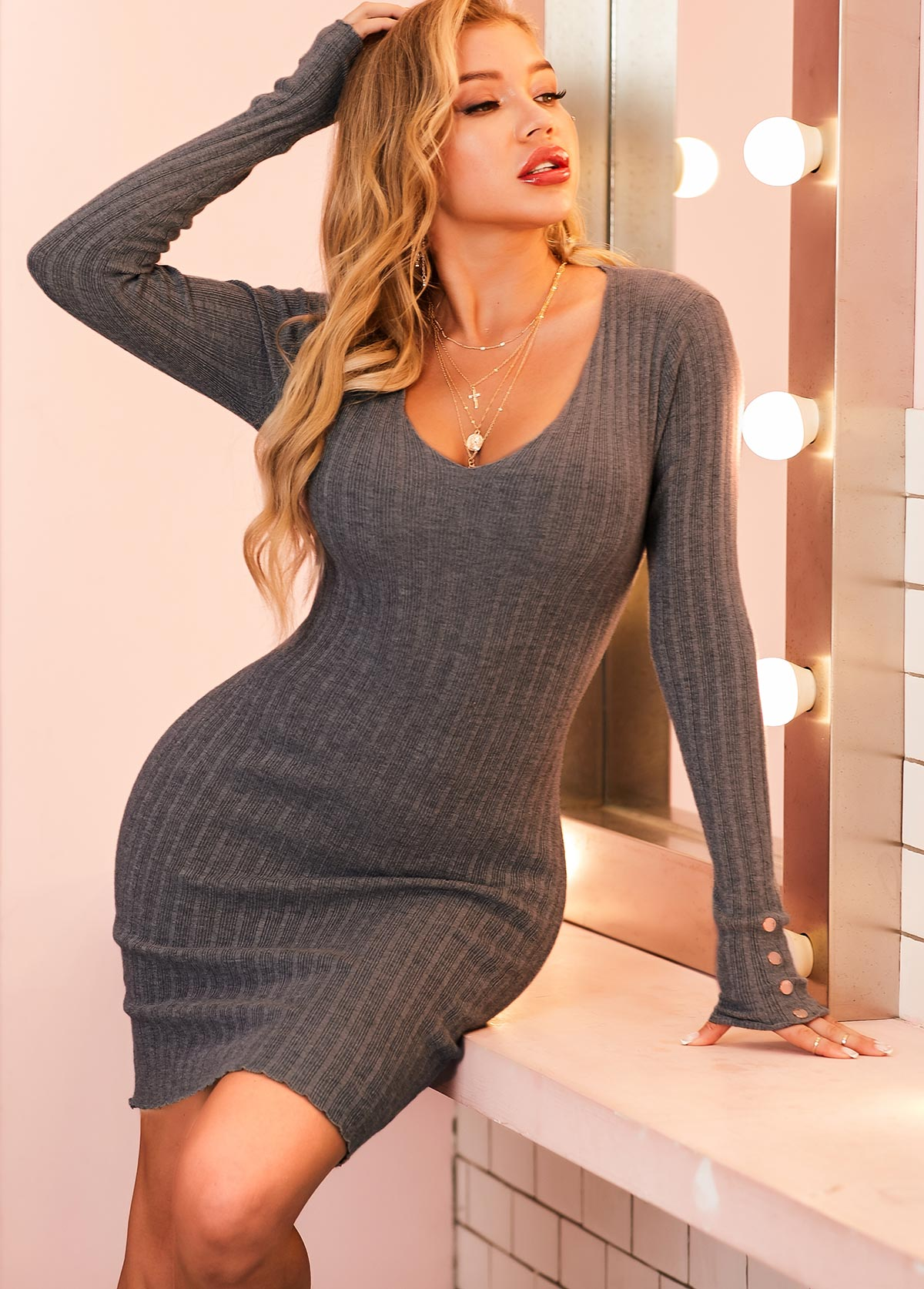 Decorative Button Long Sleeve Scoop Neck Sweater Dress