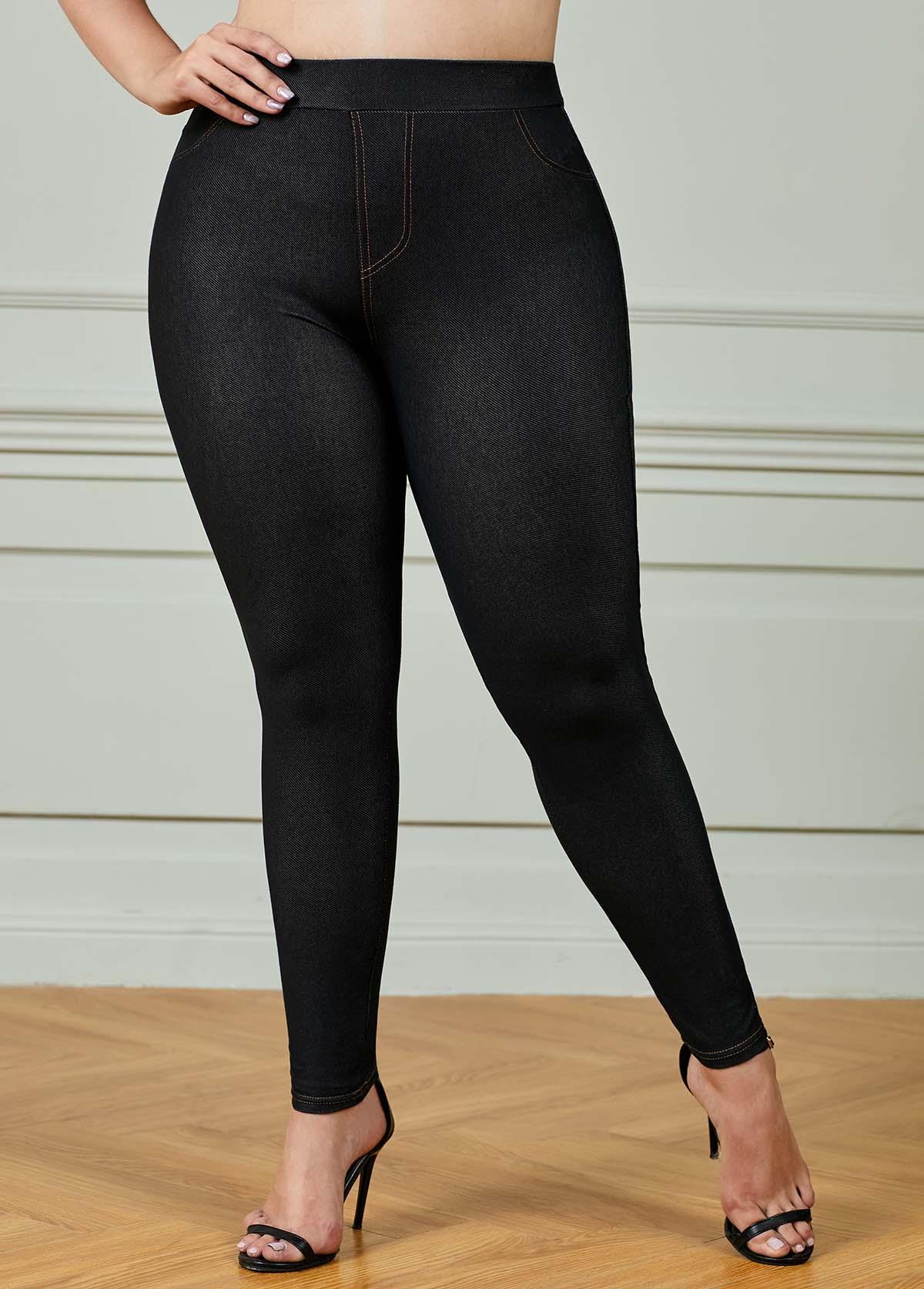 Elastic Waist Black Plus Size Skinny Pants