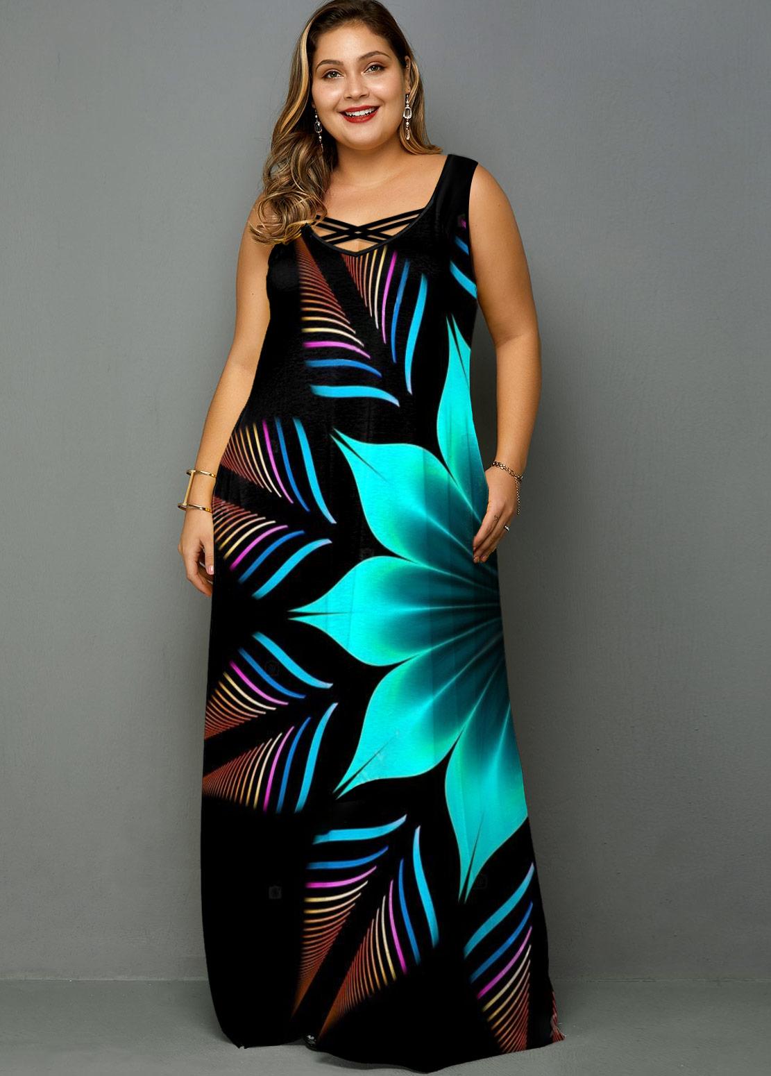 Flower Print Wide Strap Plus Size Maxi Dress