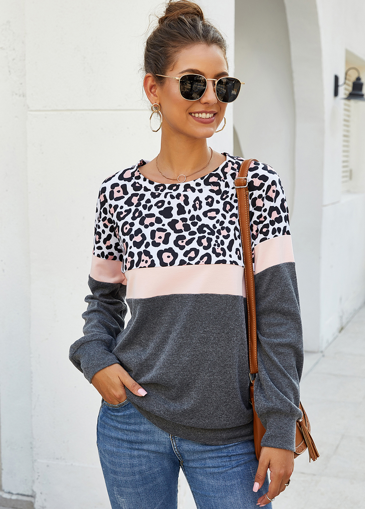 Leopard Print Contrast Long Sleeve Sweatshirt