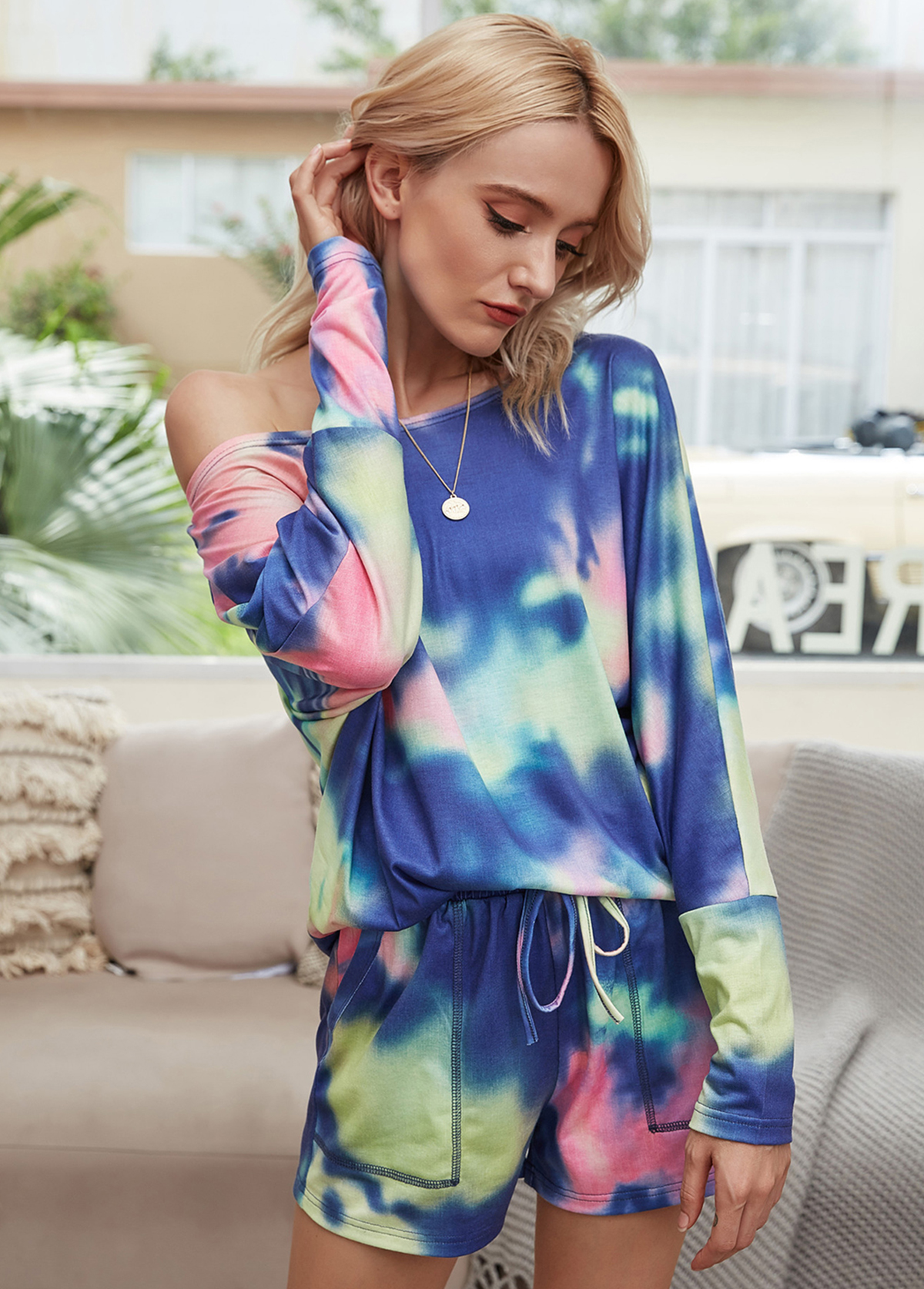 Long Sleeve Round Neck Tie Dye Print Top and Shorts