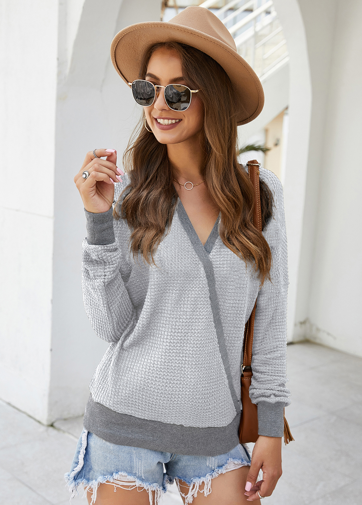 Long Sleeve V Neck Contrast Panel Sweater